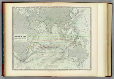 Physical chart of the Indian Ocean showing the temperature of the water, the currents of the air and ocean, directions of the wind, districts of hurricanes, regions of the monsoons & ty-foons, trade routes &c. &c. By A.K. Johnston, F.R.S.E. Engraved by W. & A.K. Johnston. William Blackwood & Sons, Edinburgh & London. (1856)