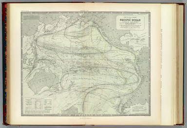 Physical chart of the Pacific Ocean or Great Sea, Mare Pacifico. Showing the currents & temperature of the ocean, the trade routes &c. Founded on the observations which have been made from the time of Magalhaen to the Prussian navigators. With additions & corrections to 1855. By A.K. Johnston, F.R.S.E. Engraved by W. & A.K. Johnston. William Blackwood & Sons, Edinburgh & London. (1856)
