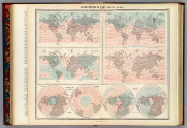 Distribution of heat over the globe (by A.K. Johnston). Engraved & printed in colours by W. & A.K. Johnston, Edinburgh. William Blackwood & Sons, Edinburgh & London. (1856)