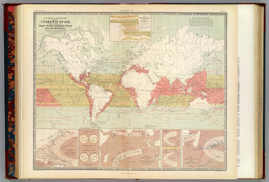 Geographical distribution of the currents of air, showing the regions of the trade winds, variable winds and hurricanes, with their effects in determining the different tracks of navigation by A.K. Johnston, F.R.S.E. Engraved & printed in colours by W. & A.K. Johnston, Edinburgh. William Blackwood & Sons, Edinburgh & London. 1st. March 1854. (1856)