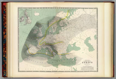 Hyetographic or rain map of Europe with an enlarged rain map of the British Isles by A.K. Johnston, F.R.S.E. Engraved by W. & A.K. Johnston. William Blackwood & Sons, Edinburgh & London. (1856)