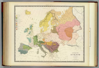 Ethnographic map of Europe according to Dr. Gustaf Kombst ... by A.K. Johnston, F.R.G.S. Engraved by W. & A.K. Johnston. William Blackwood & Sons, Edinburgh & London. (1856)
