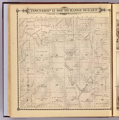Township 15 South, Range 26 East, Tulare Co., California. (Compiled, drawn and published by Thos. H. Thompson, Tulare, Cal., 1892)