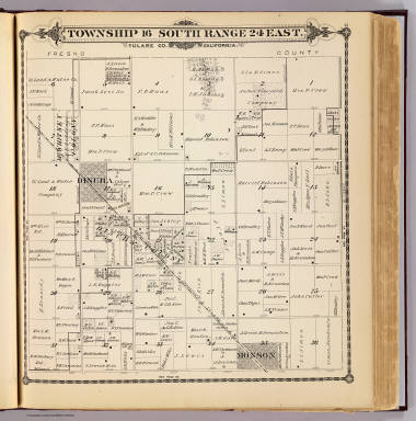 Township 16 South, Range 24 East, Tulare Co., California. (Compiled, drawn and published by Thos. H. Thompson, Tulare, Cal., 1892)