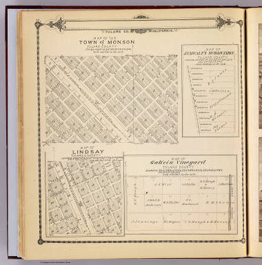 Map of the town of Monson, Tulare County. (with) Map of Lindsay, Tulare County. (with) Map of Zumwalt's subdivision ... (with) Map of Galicia Vineyard ... (Compiled, drawn and published by Thos. H. Thompson, Tulare, Cal., 1892)