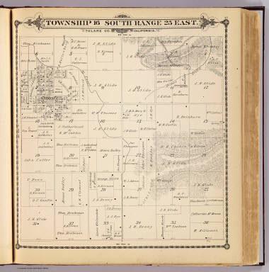Township 16 South, Range 25 East, Tulare Co., California. (Compiled, drawn and published by Thos. H. Thompson, Tulare, Cal., 1892)