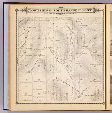 Township 16 South, Range 26 East, Tulare Co., California. (Compiled, drawn and published by Thos. H. Thompson, Tulare, Cal., 1892)