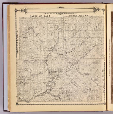 Township 16 South, Township 17 South, Range 28 East, Range 29 East, Tulare Co., California. (Compiled, drawn and published by Thos. H. Thompson, Tulare, Cal., 1892)