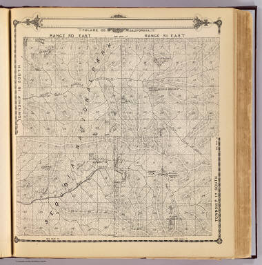 Township 16 South, Township 17 South, Range 30 East, Range 31 East, Tulare Co., California. (Compiled, drawn and published by Thos. H. Thompson, Tulare, Cal., 1892)