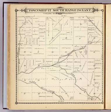Township 17 South, Range 24 East, Tulare Co., California. (Compiled, drawn and published by Thos. H. Thompson, Tulare, Cal. 1892)