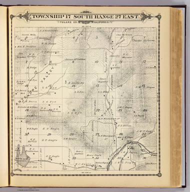 Township 17 South, Range 27 East, Tulare Co., California. (Compiled, drawn and published by Thos. H. Thompson, Tulare, Cal. 1892)