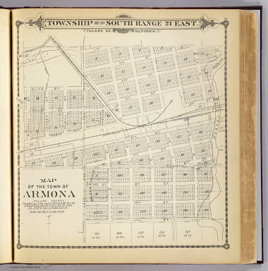 Map of the town of Armona, Tulare County. (Compiled, drawn and published by Thos. H. Thompson, Tulare, Cal. 1892)