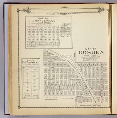 Map of Goshen, Tulare County. (with) Map of Grangeville ... (with) Map of Fruit Land Colony ... (Compiled, drawn and published by Thos. H. Thompson, Tulare, Cal. 1892)