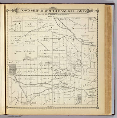 Township 18 South, Range 24 East, Tulare Co., California. (Compiled, drawn and published by Thos. H. Thompson, Tulare, Cal. 1892)