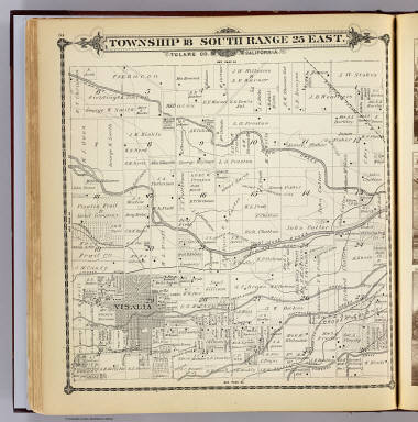 Township 18 South, Range 25 East, Tulare Co., California. (Compiled, drawn and published by Thos. H. Thompson, Tulare, Cal. 1892)