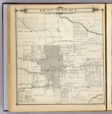 S.W. 1/4 T, 18. S., R.25 E., Tulare Co., California. (Compiled, drawn and published by Thos. H. Thompson, Tulare, Cal. 1892)