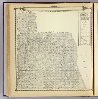 Township 20 South ... Township 18 South, Range 32 East ... Range 35 East, Tulare Co., California. (with) Map of Averill's Subdivision, Tulare County. (Compiled, drawn and published by Thos. H. Thompson, Tulare, Cal. 1892)