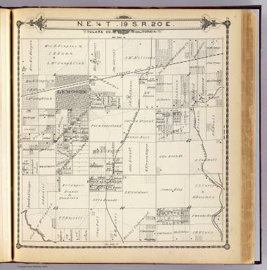 N.E. 1/4 T.19 S., R.20 E., Tulare Co., California. (Compiled, drawn and published by Thos. H. Thompson, Tulare, Cal. 1892)