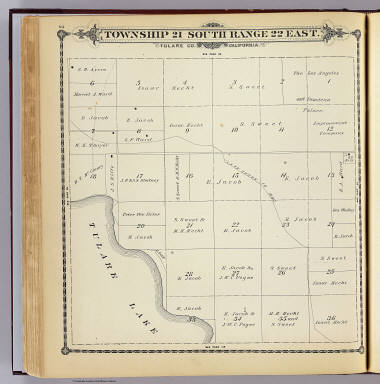 Township 21 South, Range 22 East, Tulare Co., California. (Compiled, drawn and published by Thos. H. Thompson, Tulare, Cal. 1892)