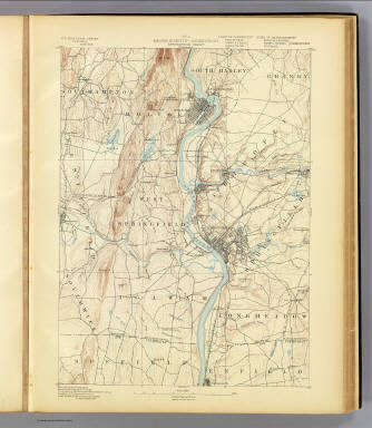 No. 4. Massachusetts-Connecticut. Springfield sheet. U.S. Geological Survey, J.W. Powell, Director. State of Connecticut ... State of Massachusetts ... commissioners. Henry Gannett, Chief Geographer. Marcus Baker, Geographer in charge. Triangulation by U.S. Coast and Geodetic Survey and Borden surveys. Topography by C.C. Bassett and C. Arrick, under direction of W.D. Johnson and S.H. Bodfish. Surveyed in 1886 and 1887. (1893)