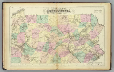 Railway map of the state of Pennsylvania, 1872. Drawn by F.A. Gray. (Published by Stedman, Brown & Lyon, Philadelphia)