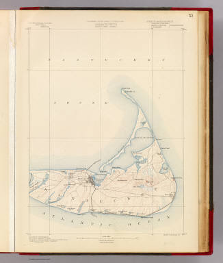 Massachusetts. Nantucket sheet. Preliminary edition subject to corrections. U.S. Geological Survey, J.W. Powell, Director. State of Massachusetts ... commissioners. Henry Gannett, Chief Geographer. Marcus Baker, geographer in charge. Triangulation and coast line by the U.S. Coast and Geodetic Survey. Topography by E.B. Clark, assistant topographer. Surveyed in 1887. Forbes Co., Boston & N.Y. (1890)