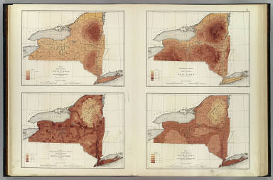 Map of the state of New York showing the mean annual rainfall in inches. Map showing, in six degrees of density, the distribution of the population of the state of New York 1890. Hypsometric sketch of the state of New York. Map of the state of New York showing the mean annual temperature. (all) compiled by Henry Gannett, E.M. Copyright 1895, Julius Bien & Company, N.Y.
