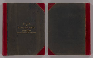 (Covers to) Atlas of Massachusetts from topographical surveys made in co-operation by the United States Geological Survey and the Commissioners of the Commonwealth 1884-1888. United States Geological Survey. J.W. Powell, Director. Commonwealth of Massachusetts. Francis A. Walker, Henry L. Whiting, N.S. Shaler, Commissioners. Preliminary edition, subject to correction. Published by the Commission at its office, 11 Mt. Vernon St., Boston. Forbes Co., Boston & N.Y.