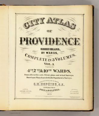 Title Page: v. 3 Atlas of Providence. / Hopkins, Griffith Morgan / 1875