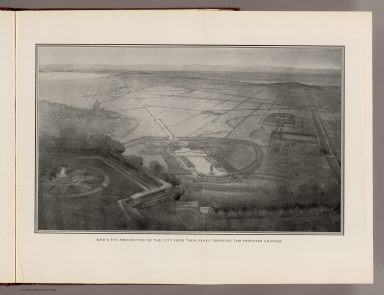 Bird's-eye perspective of the City from Twin Peaks, showing the proposed changes. (By Daniel H. Burnham. Assisted by Edward H. Bennett. 1905)