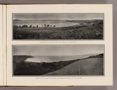 Panorama of the Bay from the Presidio, looking east. View of the Golden Gate from the proposed terrace in the Presidio. (By Daniel H. Burnham. Assisted by Edward H. Bennett. 1905)