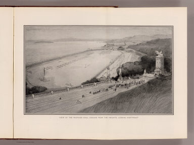View of the proposed drill ground from the heights, looking northeast (San Francisco Presidio. By Daniel H. Burnham. Assisted by Edward H. Bennett. 1905)