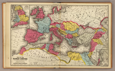Map of the Roman Empire at the period of its greatest extent about the year A.D. 107. Engraved to illustrate Mitchell's ancient geography. (with) Map of Britannia Romanorum or Roman Britain. (with) Map of northern and Central Syria. Drawn & engraved by J.H. Young. Entered ... 1844, by S. Augustus Mitchell ... Eastern District of Pennsylvania. (1875)