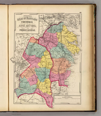 Topographical atlas of Maryland: counties of Anne Arundel and Prince George. / Martenet, Simon J.; Walling, H. F.; Gray, Ormando Willis / 1873