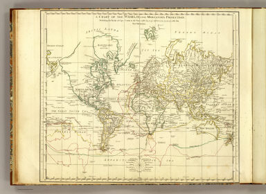 A chart of the World upon Mercator's projection. Describing the tracks of Capt. Cook in the year 1768, 69, 70, 71, and in 1772, 73, 74, 75, with the new discoveries. London, publish'd according to Act of Parliament by Jefferys & Faden, Corner of St. Martin's Lane, Charing Cross. 1775.