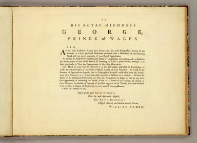 Dedication: Geographical exercises. / Faden, William, 1750?-1836 / 1777