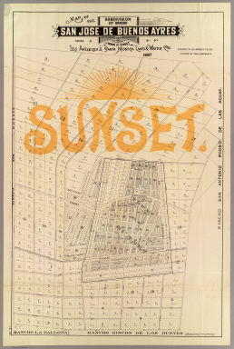 Map of the subdivision of Rancho San Jose de Buenos Ayres and the town of Sunset owned by Los Angeles & Santa Monica Land & Water Co., situated in Los Angeles Co., Cal. Surveyed by Theo. G. Kocher & Co. 1887. Los Angeles Litho. Co., 48 to 52 Banning St.