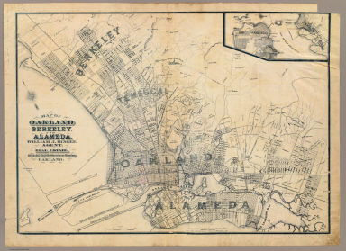 Map of Oakland, Berkeley and Alameda. William J. Dingee, agent. For the purchase, sale, appraisal and care of real estate. 460 & 462 Eighth Street near Broadway, Oakland. M.G. King, C.E., surveyor. Entered ... in the year 1878, by Woodward & Taggart in the office of the Librarian of Congress at Washington, D.C. Galloway Litho Co., 418-422 Commercial St., S.F. (1884?)