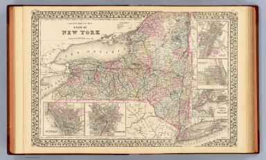 County map of the state of New York. (with) Buffalo. (with) Rochester. (with) West Troy, Troy. (with) Albany. (with) Harbor and vicinity of New York. Drawn and engraved by W.H. Gamble, Philadelphia. Entered ... 1879 by S. Augustus Mitchell ... Washington. (1880)