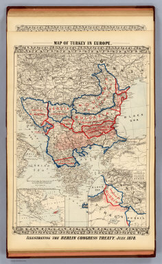 Map of Turkey in Europe. Illustrating the Berlin Congress Treaty, July, 1878. (with) A map showing the relation of Cyprus to the adjacent coasts. (with) Map of Armenia to illustrate articles 58, 59, 60 of the Treaty of Berlin. (By S. Augustus Mitchell. 1880)