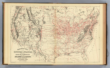 Railroad Map Us Mitchell Samuel Augustus 1890 - Railroad-us-map