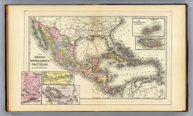 Map of Mexico, Central America, and the West Indies. (with) Map of the Bermuda Islands. (with) Map of the island of Jamaica. (with) Map of the proposed ship rail road route across the isthmus of Tehuantepec. (with) Map of the Panama Railroad and proposed canal. (with) Map of the proposed Nicaragua Canal route. Copyright 1887 by Wm. M. Bradley & Bro. (1890)