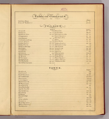 Contents: Atlas of Westchester County, N.Y. / G.W. Bromley & Co.; Bromley, George Washington; Bromley, Walter Scott / 1881