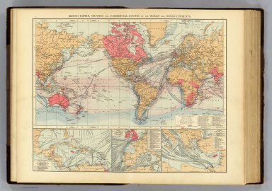 """British Empire, showing the commercial routes of the World and ocean currents. (with) Steam-ship lines of Central America & the West Indies. (with) Steam-ship lines from ports of Western Europe. (with) Eastern steam-ship lines (Mediterranean and Black Seas. Published at the office of """"The Times,"""" London, 1895)"""