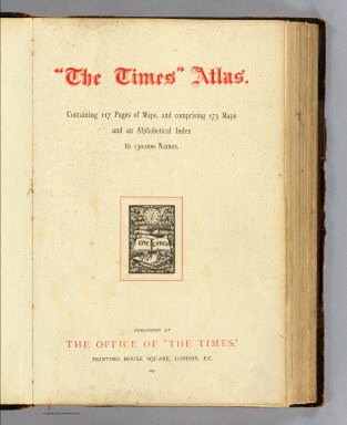 Title Page: Times atlas. / Times (London, England); Andree, Richard / 1895