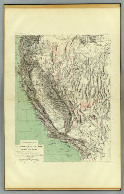 Geomorphic map of California and Nevada with portions of Oregon and Idaho showing the diastrophic character of the relief, the steep descent from the sub-continental shelf to the floor of the Pacific, and the more important known faults. Earthquake Investigation Commission. Drawn by M. Solem. A. Hoen & Co., Baltimore. (Carnegie Institution of Washington, 1908)