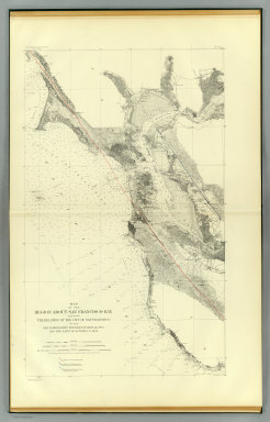 Map of the region about San Francisco Bay showing the relation of the city of San Francisco to the San Andreas Rift, the fault of April 18, 1906 and the fault of October 21, 1868. Earthquake Investigation Commission. Julius Bien & Co., Lith., N.Y. (Carnegie Institution of Washington. 1908)