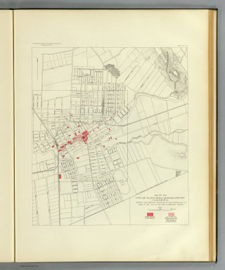 Map of the city of Santa Rosa, Sonoma County, California showing the portions destroyed by the earthquake of April 18, 1906, and by the fire consequent thereto. Earthquake Investigation Commission. A. Hoen & Co., Baltimore. (Carnegie Institution of Washington. 1908)