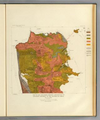Map of San Francisco showing distribution of apparent intensity of the earthquake shock by H.O. Wood. Earthquake Investigation Commission. A. Hoen & Co., Baltimore. (Carnegie Institution of Washington. 1908)