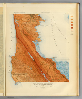 California, San Mateo quadrangle of the U.S. Geological Survey showing the distribution of apparent intensity, the known faults, and the routes examined. Earthquake Investigation Commission. A. Hoen & Co., Baltimore. (Carnegie Institution of Washington. 1908)